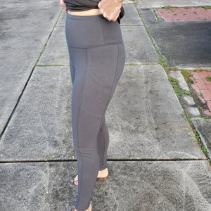 Better Cotton Wide Waistband Pocket Leggings - Grey