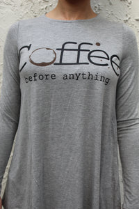 'Coffee Before Anything' Graphic Tshirt - Grey