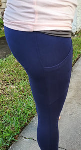 Better Cotton Wide Waistband Pocket Leggings - Navy