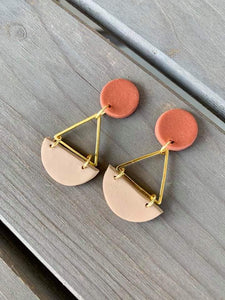 Small Triangle Dangle Clay Earrings