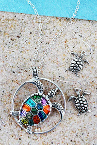 Abalone Color Mosaic Turtle Necklace & Earring Set