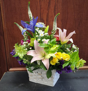Fresh Flower Basket Arrangement