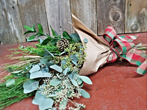 Eucalyptus and Evergreen Wrap Bouquet