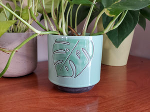 Ceramic Planter, Green Leaf Design