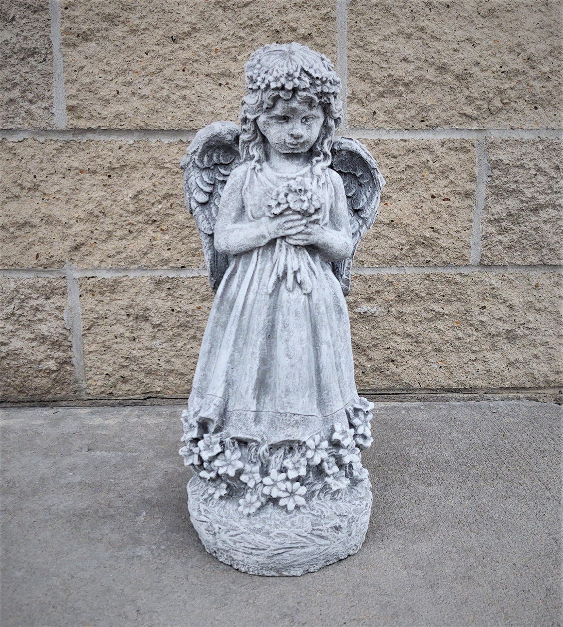 Memorial Garden Angel Holding Flowers