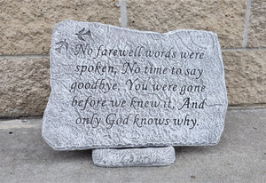 Memorial Garden Stone, No Farewell Words