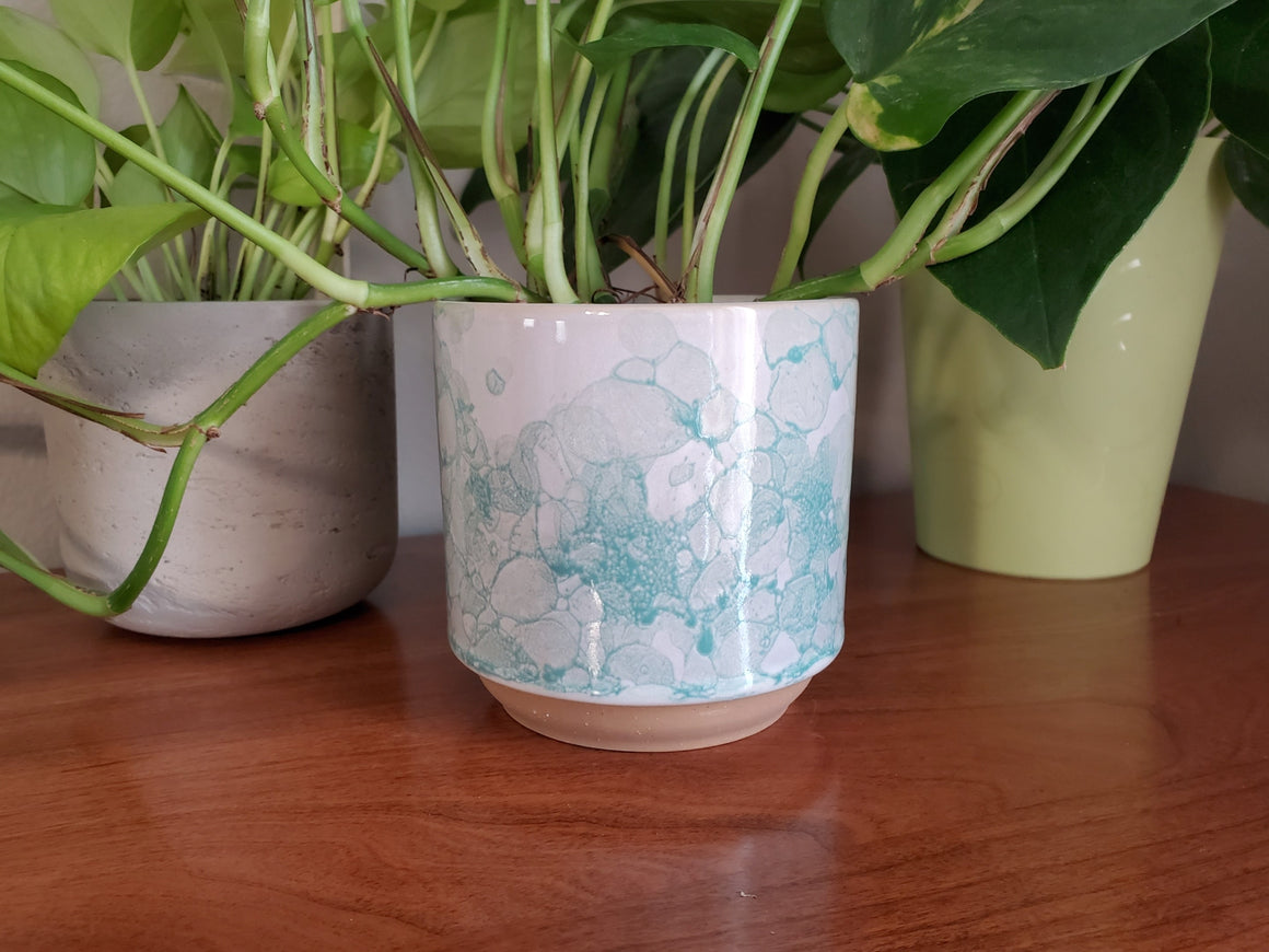 Ceramic Planter, Teal Bubble Design