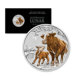 2021 $1 1/4oz Silver Lunar Ox Coloured BU Closeup
