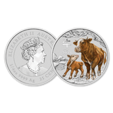 2021 $1 1/4oz Silver Lunar Ox Coloured BU Front and Back