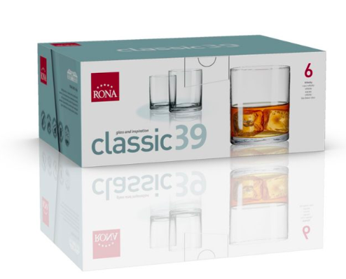"RONA VASO	CLASSIC	Art. No. 1605 390  Whisky XL 390ml 13oz  H102mm 3¾"""" D88mm 3½"""