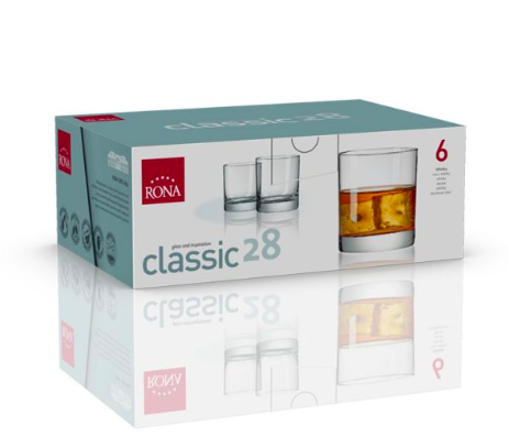"RONA VASO CLASSIC	Art. No. 1605 280  Whisky  280ml 9½oz  H88mm 3½"" D80mm 3¼"""