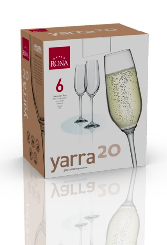 "RONA COPA	YARRA	Art. No. 4735 205  Champagne Flute  205ml 7oz H228mm 9"" D60mm 2½"""