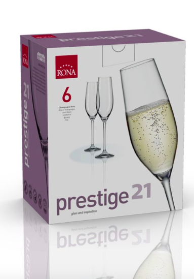 "RONA COPA	PRESTIGE	 Art. No. 6339 210  Champagne Flute  210ml 7oz  H252mm 10 "" D66mm 2½"""