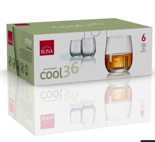"RONA VASO	COOL	Art. No. 4218 360 Whisky  360ml 12¼oz  H95mm 3¾"" D84mm 3 ¼"""