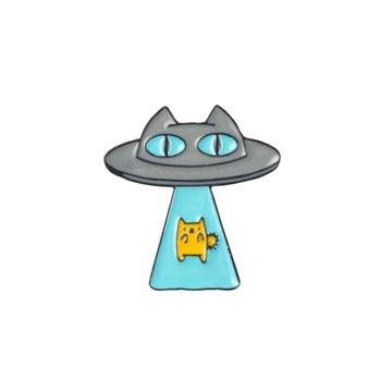 Alien Cat Spaceship Pin