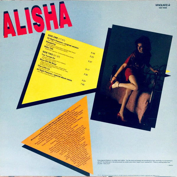 "Alisha, ""Alisha"" LP (1985). Back cover image. Pop singer."