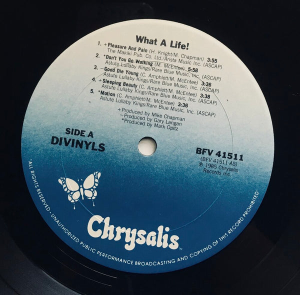 "Divinyls, ""What A Life!"" Promo LP (1985). Record sticker label image. Pop and heavy rock, alternative rock."