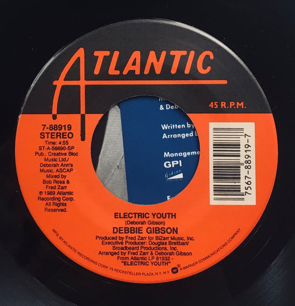 "Debbie Gibson, ""Electric Youth"" Single (1989). Record label sticker image. Pop, dance, electronic."