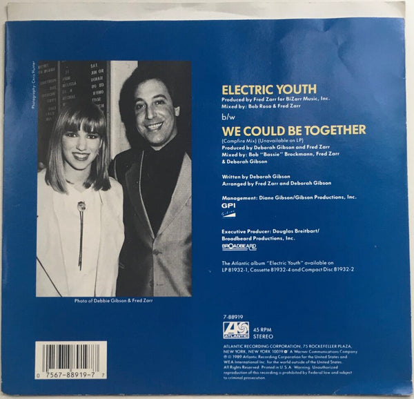"Debbie Gibson, ""Electric Youth"" Single (1989). Back cover image. Pop, dance, electronic."