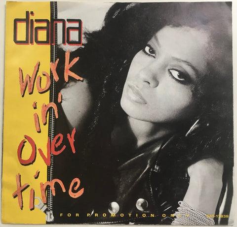 "Diana Ross, ""Workin' Overtime"" Promo Single (1989). Front cover image. Pop-rock, new jack swing, hip-hop from The Supremes' Diana Ross."