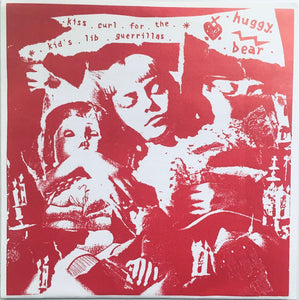 "Huggy Bear, ""Kiss Curl For The Kids Lib Guerillas"" Single (1992). Front cover image. Riot Grrrl from the UK. Pop-punk, punk."