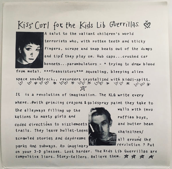 "Huggy Bear, ""Kiss Curl For The Kids Lib Guerillas"" Single (1992). Front cover sleeve image. Riot Grrrl from the UK. Pop-punk, punk."