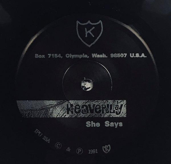 "Heavenly, ""She Says"" Single (1991). Record label sticker image. Sarah Records alum. Talulah Gosh, Heavenly, Marine Research. Pop, twee, jangle-pop, shoegaze."