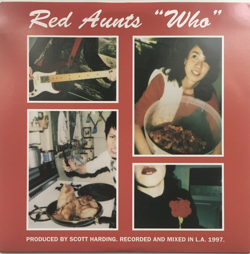 "Red Aunts, ""Who,"" b/w Constant Comment, ""Fire Crasher"" Split Single (1997). Front cover image featuring Red Aunts. Punk, pop-punk."