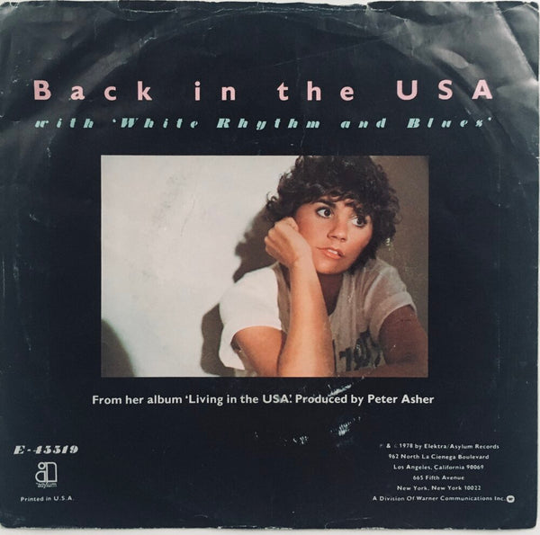 "Linda Ronstadt, ""Back In The U.S.A."" Single (1978). Back cover image. Pop-rock, country-rock, rhythm and blues."