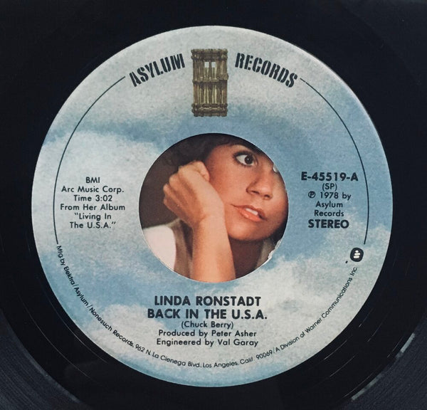 "Linda Ronstadt, ""Back In The U.S.A."" Single (1978). Record label sticker image. Pop-rock, country-rock, rhythm and blues."