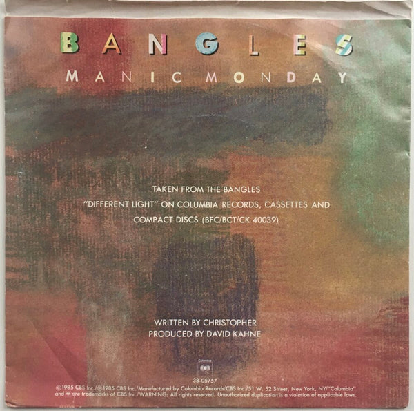 "The Bangles, ""Manic Monday"" Single (1988). Back cover image. Pop, power-pop, from Different Light."