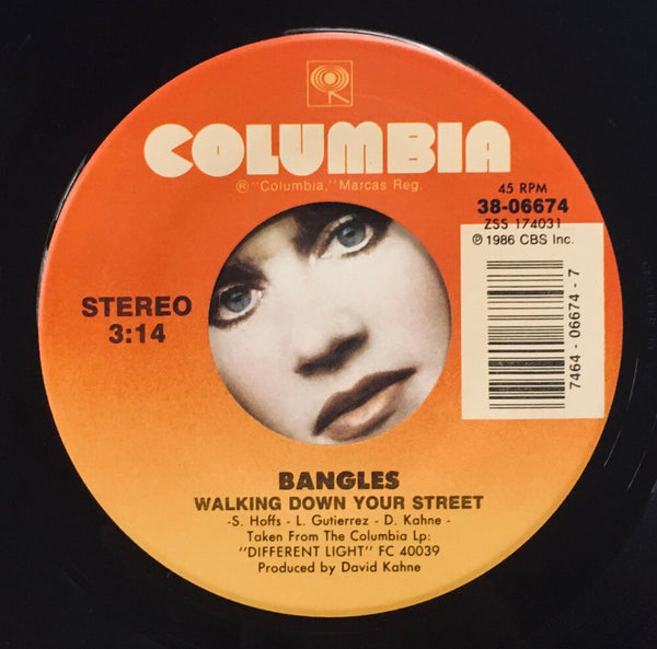 "The Bangles, ""Walking Down Your Street"" Single (1986). Record label sticker image. Pop, power-pop, from Different Light."