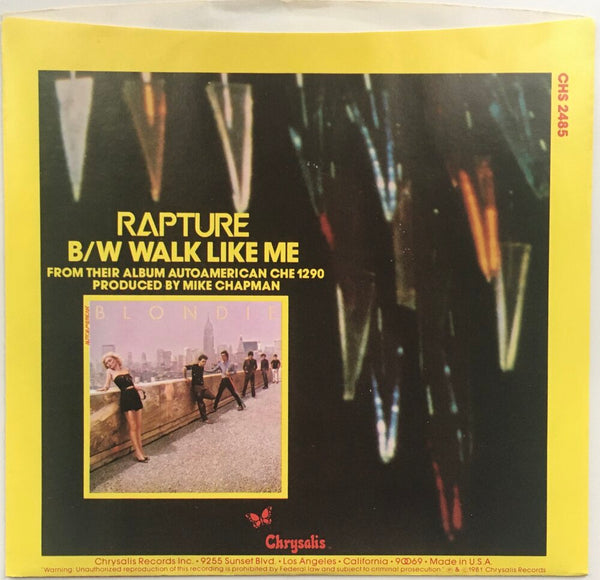 "Blondie, ""Rapture"" Single (1981). Back cover image. Pop-punk, power pop. Punk."