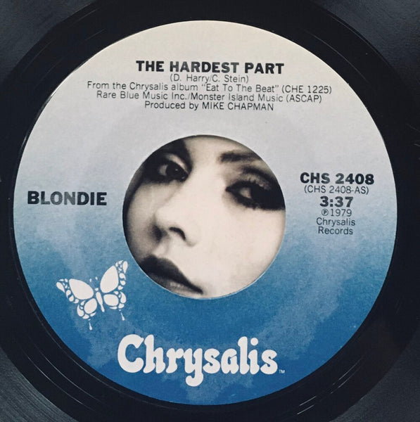 "Blondie, ""The Hardest Part"" Single (1979). Record sticker label image. Pop-punk, power pop. Punk."