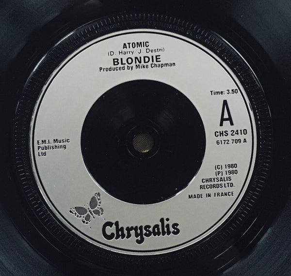 "Blondie, ""Atomic"" Single (1980). Record sticker label, silver injection, image. Pop-punk, power pop. Punk."