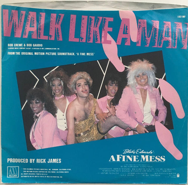 "Mary Jane Girls, ""Walk Like A Man"" Single (1986). Back cover image. Pop, funk, and soul. From the 80s movie soundtrack, ""A Fine Mess."""