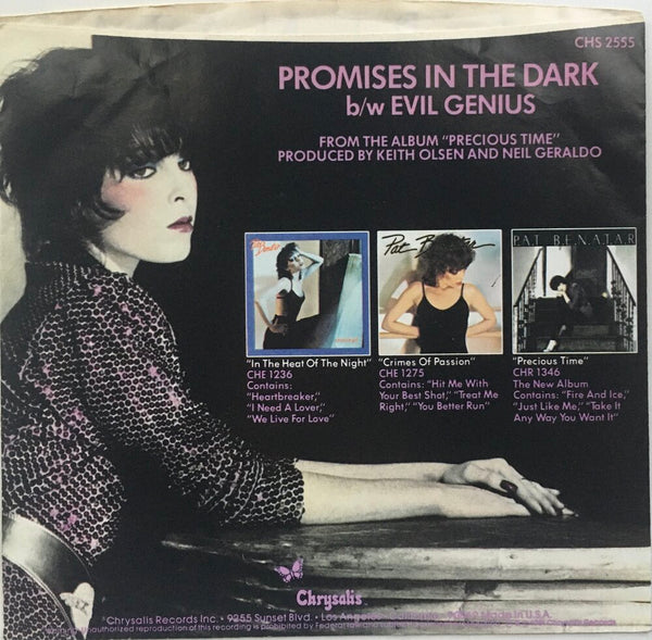 "Pat Benatar, ""Promises In The Dark"" Single (1981). Back cover image. Pop-rock."