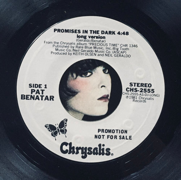 "Pat Benatar, ""Promises In The Dark"" Single (1981). Record label sticker image. Pop-rock."
