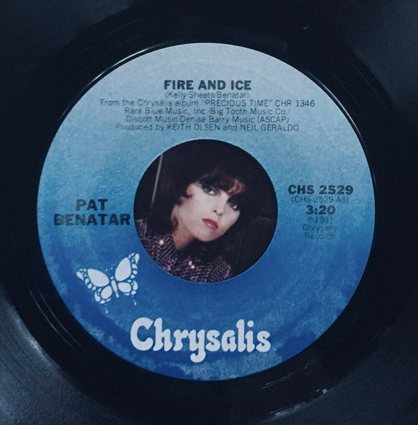 "Pat Benatar, ""Fire and Ice"" Single (1981). Record label sticker image. Pop-rock."