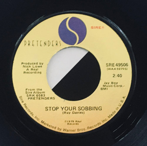 "The Pretenders, ""Stop Your Sobbing"" Single (1979). Record label sticker image.  Power-pop, pop-punk, punk."
