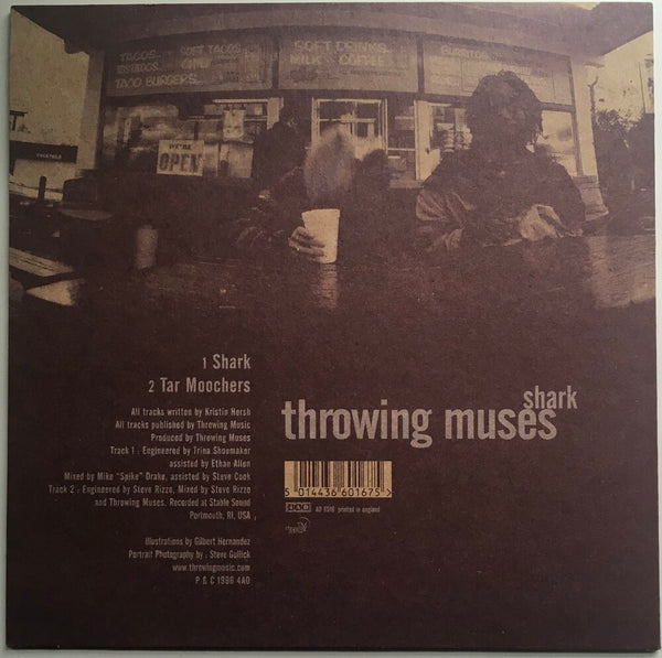 "Throwing Muses, ""Shark"" Single (1996). Back cover image. Alternative-rock, Kristen Hersh, 4AD."