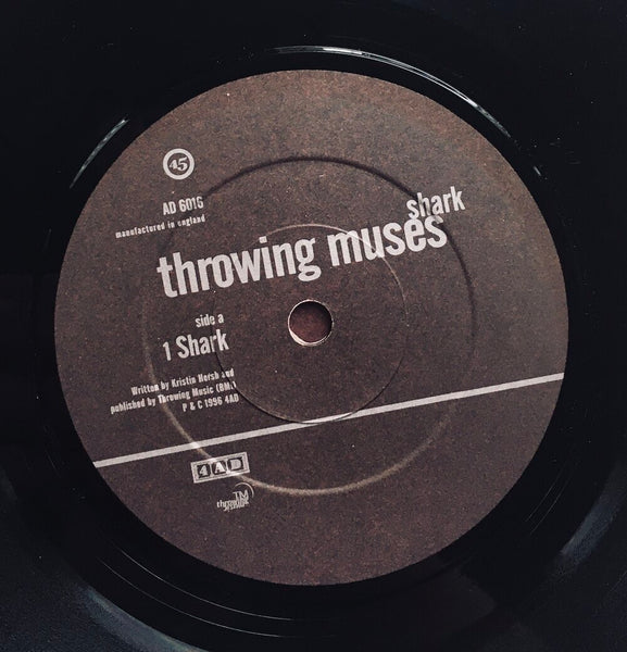 "Throwing Muses, ""Shark"" Single (1996). Record label sticker image. Alternative-rock, Kristen Hersh, 4AD."