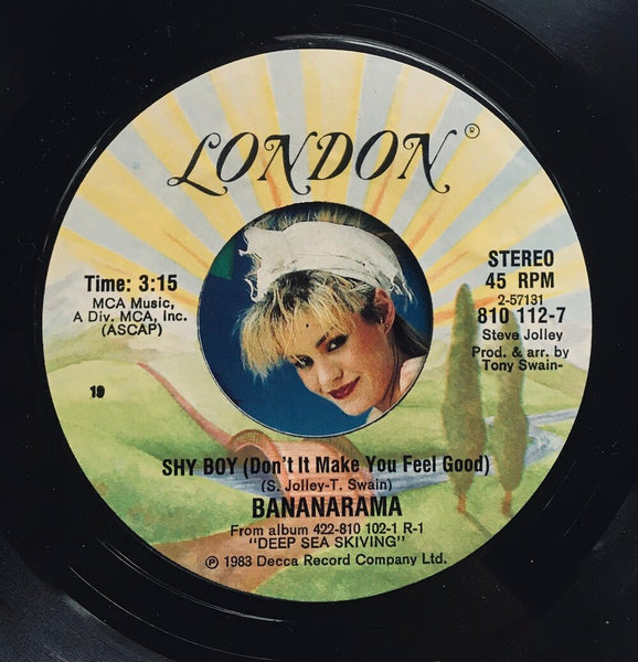 "Bananarama, ""Shy Boy"" single (1983). Record and label sticker image. Pop music."