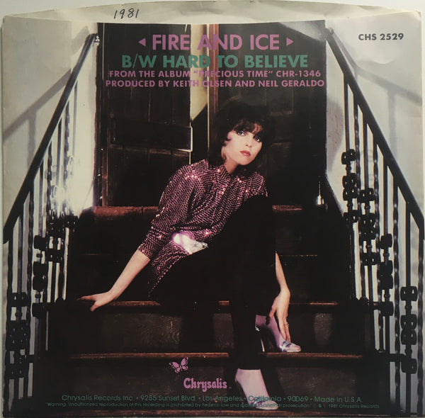 "Pat Benatar, ""Fire and Ice"" Single (1981). Back cover image. Pop-rock."