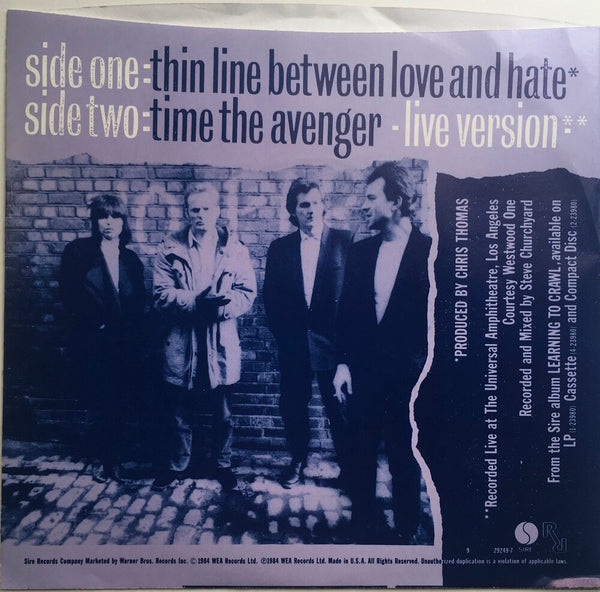 "The Pretenders, ""The Line Between Love and Hate"" Single (1984). Back cover image.  Power-pop, pop-punk, punk."