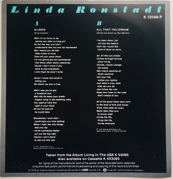 "Linda Ronstadt, ""Alison"" Single (1978). Back card lyric insert image. Pop-rock, power-pop, country-rock, rhythm and blues."