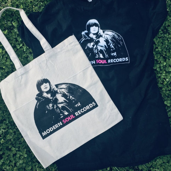 Modern Soul Records, Logo on natural Tote/Record Bag, Awesome Dudes Printing, 2020. Tote and T-Shirt image.