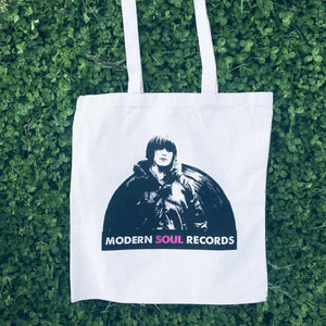 Modern Soul Records, Logo on natural Tote/Record Bag, Awesome Dudes Printing, 2020.