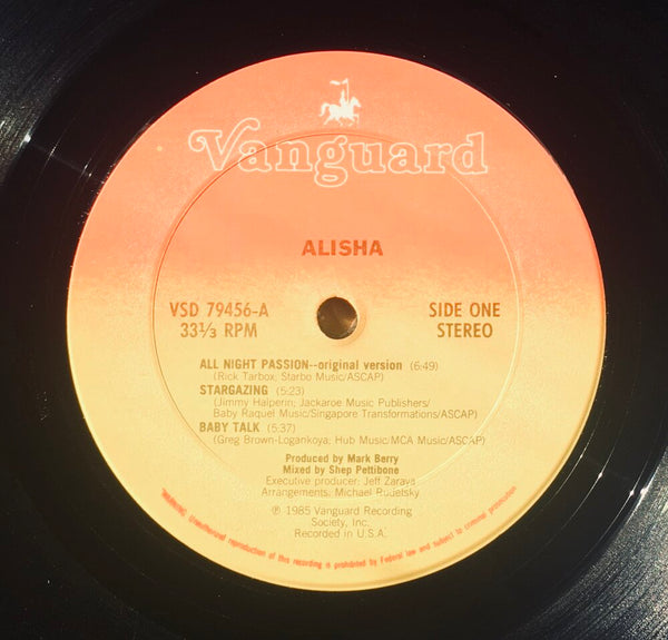 "Alisha, ""Alisha"" LP (1985). Record/label sticker image. Pop singer."