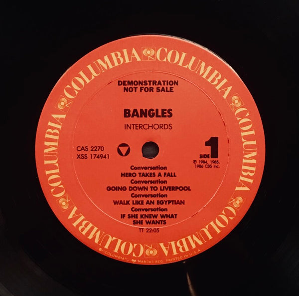 "The Bangles, ""Interchords"" Interview LP (1988). Record label sticker image. Pop, power-pop, interview accompaniment via Interchords series to Different Light."